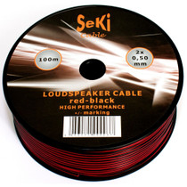50 Meters 2x 0.5mm Red/Black Twin Speaker Audio Cable Loudspeaker Wire Car Home Hifi