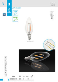 2W LED Lamp/Light Bulb Warm White 2700k ZIPI FILLED 2W E14-WW