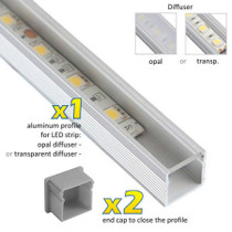 2 Metres Aluminium Extrusion Profile Line Surface Mounted for LED Strip Lights