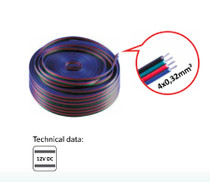 20 Metres 4 Wire Lighting Extension Cable for 12V LED RGB Strip Light