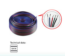 20 Metres 5 Wire Lighting Extension Cable for 12V LED RGBW Strip Light