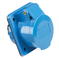 240V IP44 16A Angled Panel Mount Socket 2P+E - Blue 3 PIN Industrial Socket