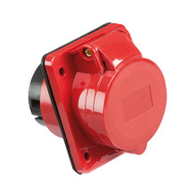 415V IP44 32A Angled Panel Mount Socket 3P+N+E - Red 5 PIN Industrial Socket