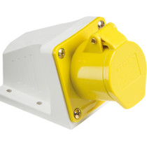 110V IP44 16A Angled Surface Mount Socket 2P+E - Yellow 3 PIN Industrial Plug