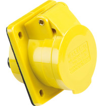 110V IP44 16A Angled Panel Mount 2P+E - Yellow 3 PIN Industrial Plug