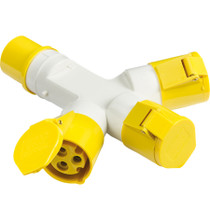 110V IP44 16A 2P+E 3 Way Splitter - Yellow 3 PIN Industrial