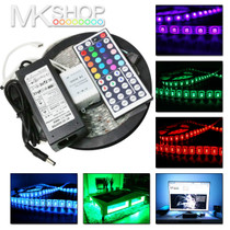 5 Metres 5050 IP20 RGB Multicolour SMD 12V LED Strip Lights + Adapter