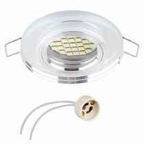 Ringo Crystal Glass White  Fixed Round Fitting Ceiling Spotlights For GU10 MR16 LED