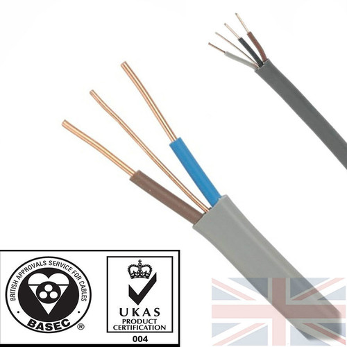 100m 1.5mm 6242Y Grey Twin & Earth Cable Quality Flat Wire BASEC Approved Reel