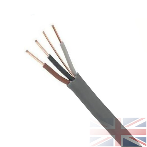 100m 1.0mm 6243Y Grey 3 Core & Earth Cable Quality Flat Wire BASEC Approved Reel