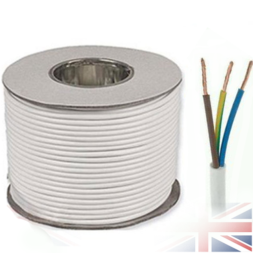 100m White 2183Y 3 Core 0.75mm 6 Amp PCV Round Flexible Electrical Cable Wire
