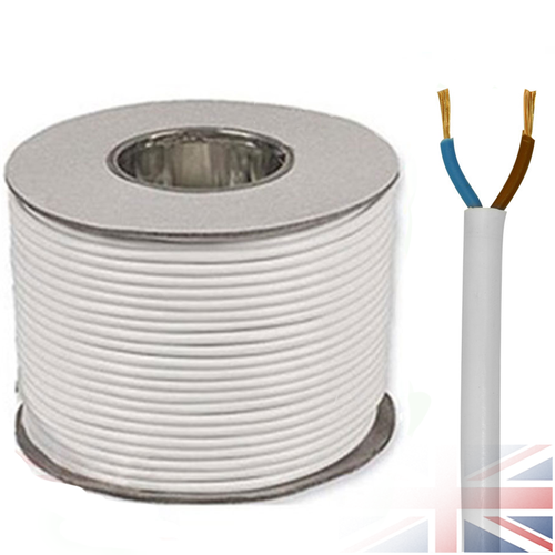 White 2182Y 2 Core 0.75mm 6 Amp PCV Round Flexible Electrical Cable Wire(Price per Metre)