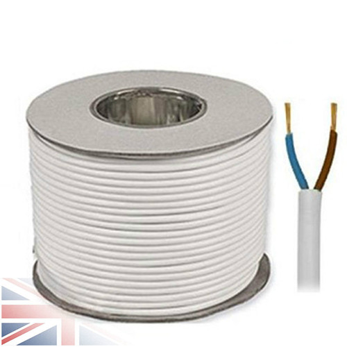 50m Reel White 3182Y 0.75mm 2 Core Round PVC Flexible Cable Wire