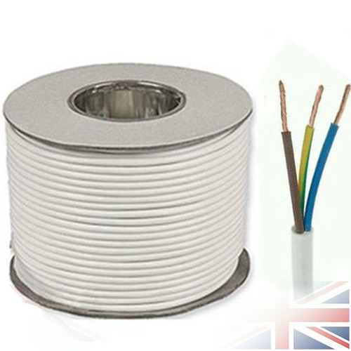 100m Reel White 3183Y 1.0mm 3 Core Round PVC Flexible Cable Wire