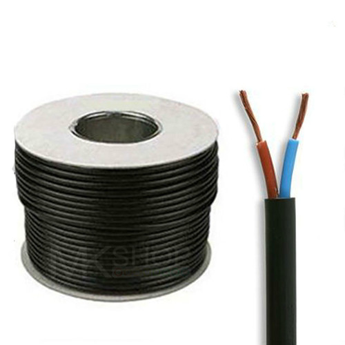50m Reel Black 3182Y 1.0mm 2 Core Round PVC Flexible Cable Wire