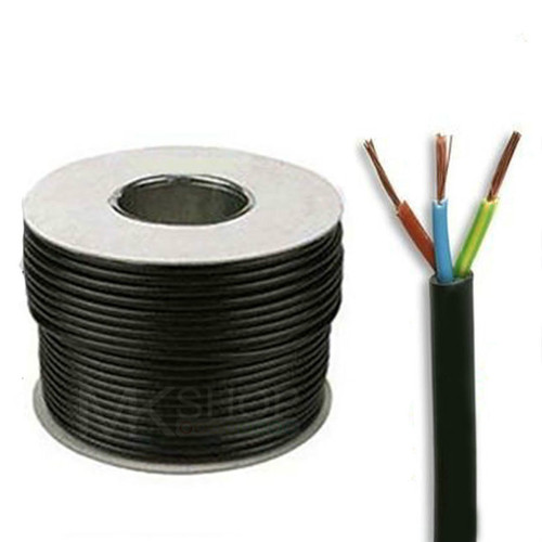 100m Reel Black 3183Y 1.5mm 3 Core Round PVC Flexible Cable Wire