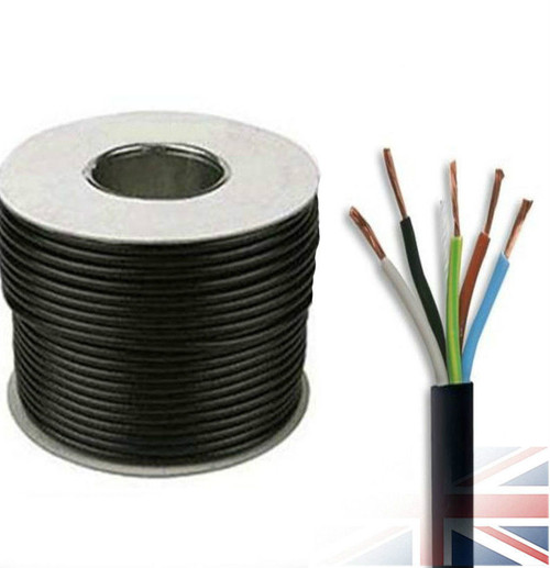 100m Reel Black 3185Y 0.75mm 5 Core Round PVC Flexible Cable Wire