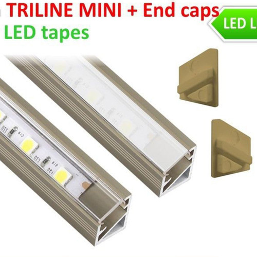 2 Metres Inox Aluminium Extrusion Profile TriLine Corner for LED Strip Lights