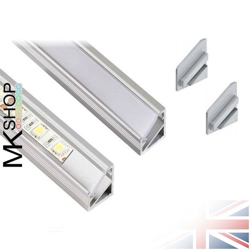 2 Metres Aluminium Extrusion Profile TriLine Corner for LED Strip Lights