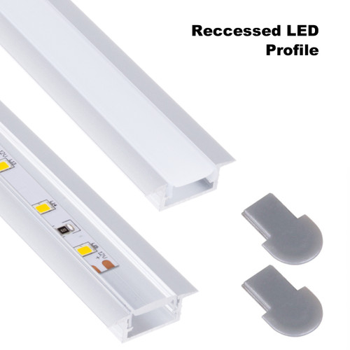 2 Metres Aluminium Extrusion Profile InLine Recessed for LED Strip Lights