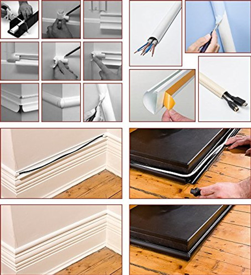 D-Line 16x8 TV Cable Wire Tidy Cover Wire Hide Trunking 50cm 75cm 1 Metre