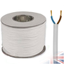 100m White 2182Y 2 Core 0.50mm 3 Amp PCV Round Flexible Electrical Cable Wire