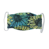 Teal flower cotton face mask for adults