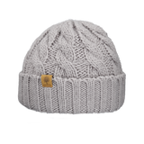 Bedford Road knitted beanie, grey cables