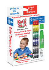 Kwik stix tempera paint sticks, 6 classic colours shown in box