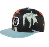 Headster kids snapback cap, black with multicoloured crocodiles