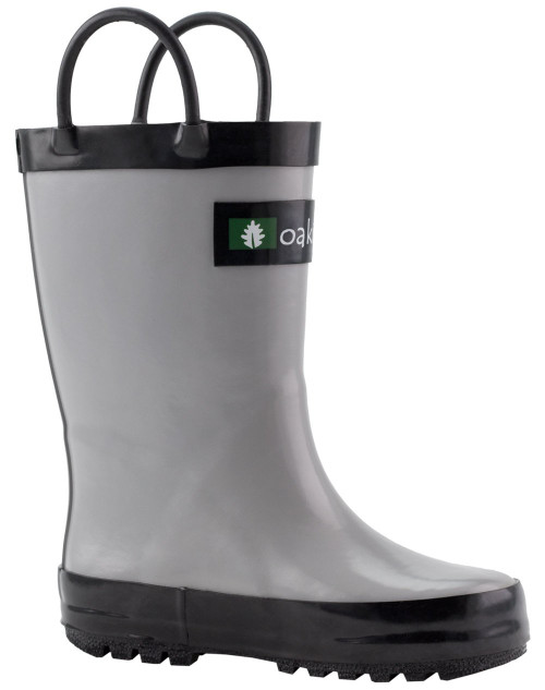 Grey and Black Rainboots