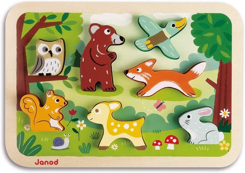 janod chunky toddler puzzle, forest animals