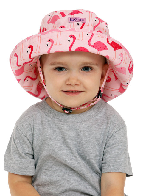 Fab Flamingo Adjustable Sun Hat || Alice, 2 1/2 yrs is wearing size 2-8