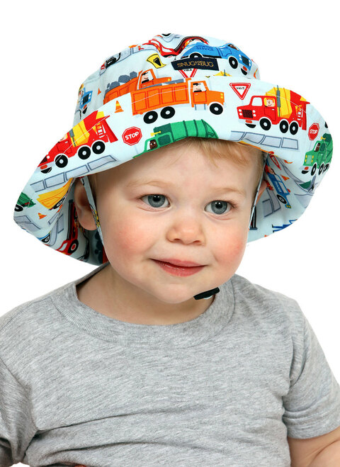 Big Rigs Adjustable Sun Hat || John, 19 months is wearing size 0-2 yrs