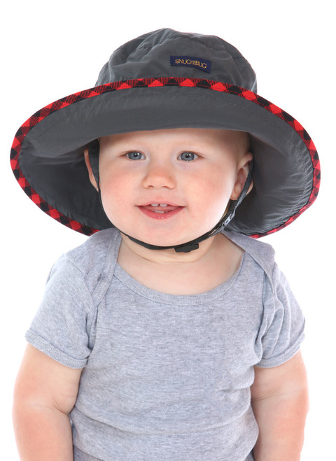 Charcoal UPF 50+ Adjustable Hat || Oliver, 14 months old is wearing size 0-2
