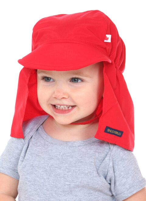 Red UPF 50+ Beach Hat || Alice, 20 months old is wearing size 1-2