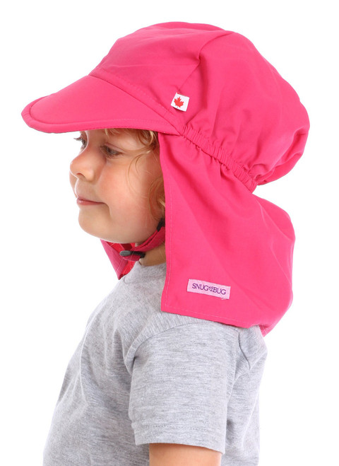 Pink UPF 50+ Beach Hat || Sophie, 3 yrs old is wearing size 2-8