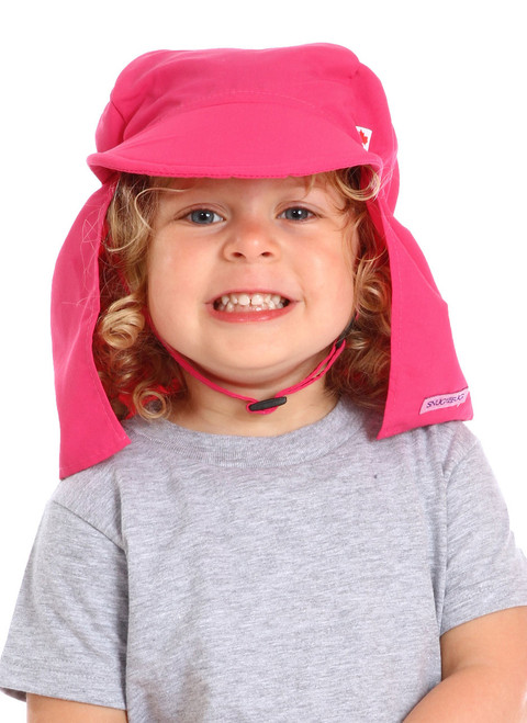 Pink UPF 50+ Beach Hat || Sophie, 3 yrs old is wearing size 2-4