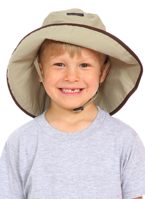 Tan UPF 50+ Adjustable Hat || Zach, 5yrs old is wearing size 4-8