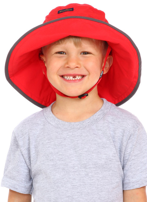 Red UPF 50+ Adjustable Hat || Zach, 5yrs old is wearing size 4-8