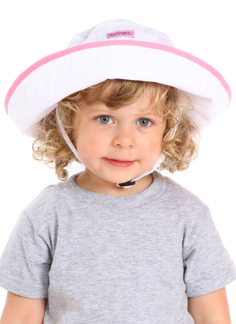 White/Pink UPF 50+ Adjustable Hat || Sophie, 3 yrs old is wearing size 2-8