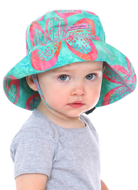 Aloha Adjustable Sun Hat || Alice, 20 months old is wearing size 0-2