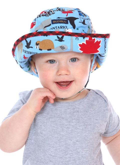 Across Canada Adjustable Sun Hat || Oliver, 14 months old is wearing size 0-2 years.