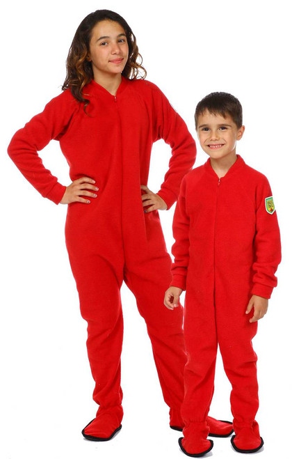 Classic Red Kids Footed Onesie || Sorina, 11 wearing 12-14 yrs Pajama<br/> Gabriel, 5 wearing 4-6 yrs Pajama