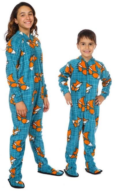 Nordic Fox Kids Footed Onesie || Sorina 11, wearing 12-14 yrs Pajama <br/>Gabriel 5, wearing 4-6 yrs Pajama