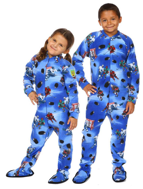 Slap Shot Kids Footed Onesie  || Luna 6, wearing 4-6 yrs Pajama <br/>Nathaniel 10, wearing 10-12 yrs Pajama