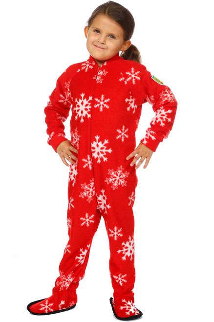 Winter Snowflake Little Kids Footed Pajama || Luna 6, wearing Size 4-6 yrs Pajama