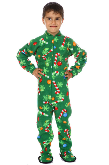 Candy Cane Christmas Little Kids Footed Pajama || Gabriel 5, wearing 4-6 yrs Pajama