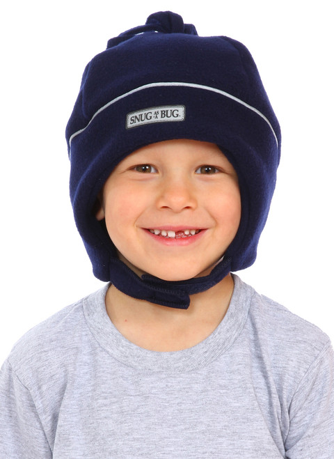 Navy Reflective Winter Hat || Zach, 5 yrs old is wearing size 4-8