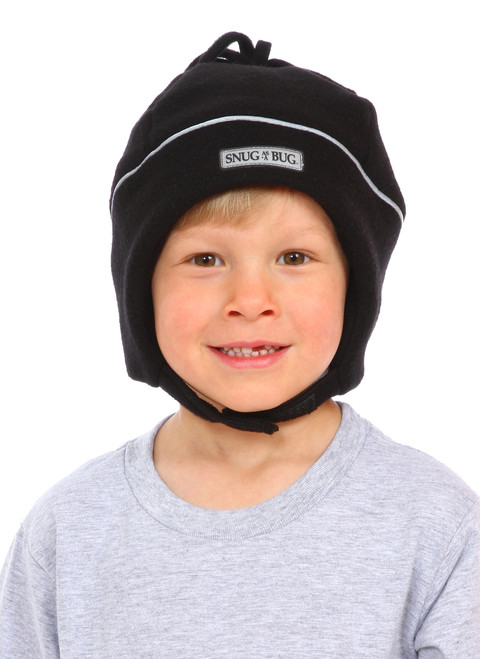 Black Reflective Winter Hat || Zach, 5 yrs old is wearing size 4-8